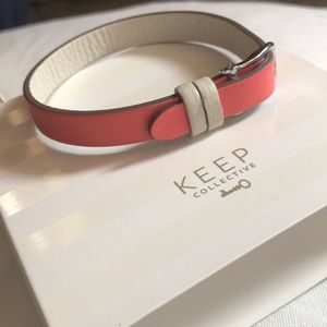 Coral Pebbled Leather Band